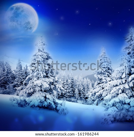 Winter night in fairy snowy fir forest with moon and starry sky. Christmas tree, winter mountains landscape. Can be used as Christmas or New Year card or greeting.  - stock photo