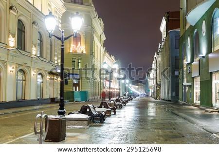 winter night on the old center in Moscow, Nikolskaya street - stock photo