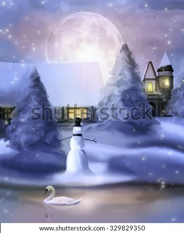 Winter night - Painted illustration - stock photo