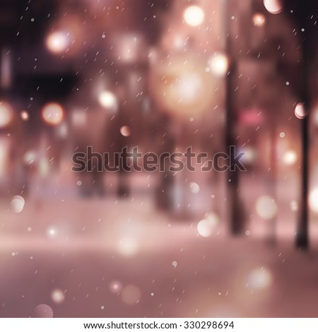 Winter night street, blurred background for christmas and new year design - stock photo