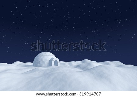 Winter north polar natural night snowy landscape: eskimo house igloo icehouse made with white snow at night on the surface of white polar snow field under cold night north sky with bright stars.