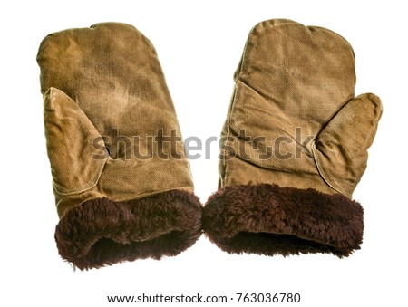 Winter old working gauntlets with fur