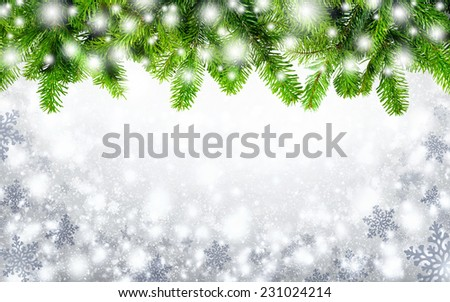 Winter or Christmas background composed from an arch of fir twigs and snowflakes, framing white copyspace in the middle - stock photo