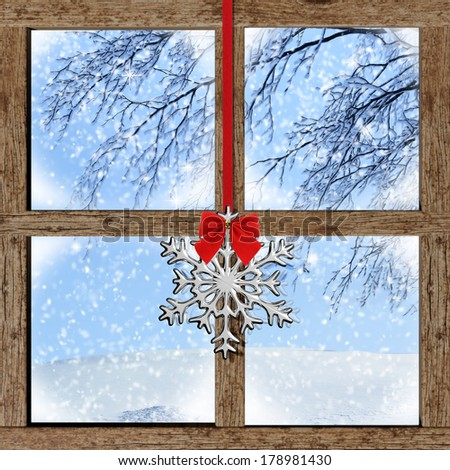 Winter outdoors view from wooden window - stock photo