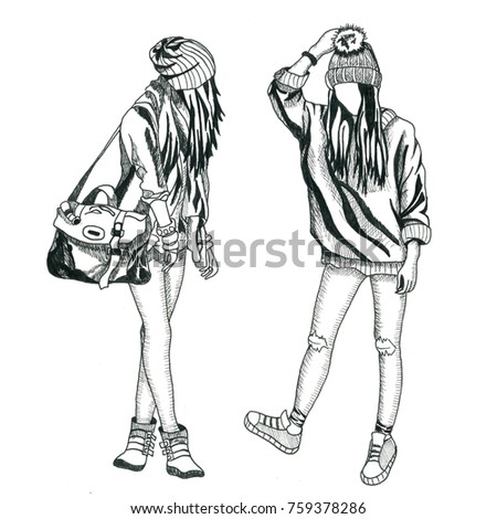 Winter Outfit Stylish Fashion Illustrations Clothing Stock Illustration 759378286 - Shutterstock