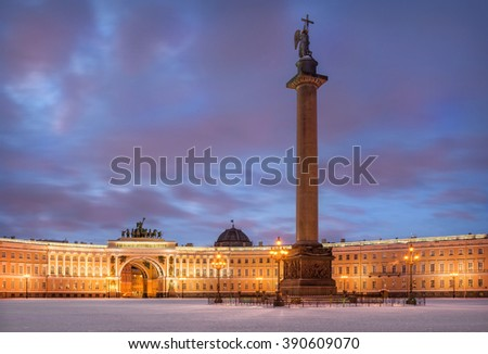 Winter Palace Square and Angel on the Alexander Column