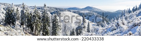 Winter panorama in the hills - stock photo