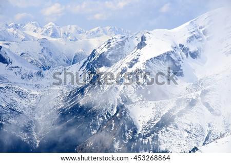 winter panorama of mountains - stock photo