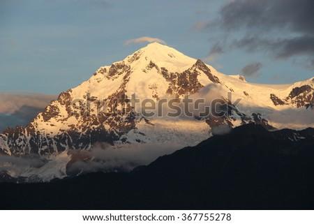 Winter Panorama of Snow Mountain - stock photo