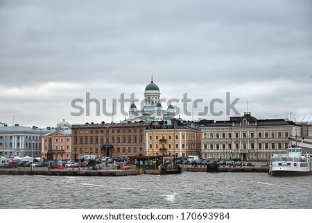 Winter panorama of the Market Square (Kauppatori) at the Old Town pier in Helsinki, Finland - stock photo