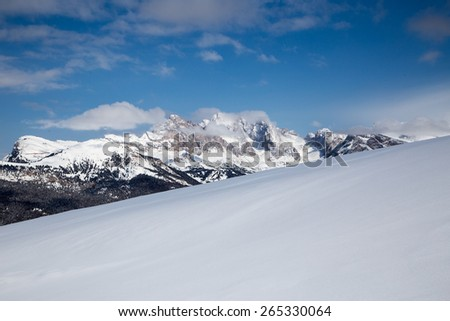 Winter panorama on mountains in Val Gardena /  Winter panorama on mountains in Val Gardena, South Tyrol, Italy. - stock photo