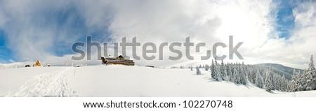 Winter panorama on Snieznik Mountain, Poland - stock photo
