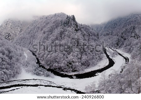 Winter panorama with frosty forest on mountains and river in a canyon - stock photo