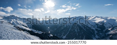 winter panoramic landscape - stock photo
