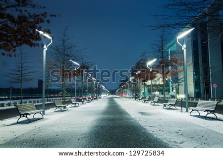 Winter park at night Berlin - stock photo