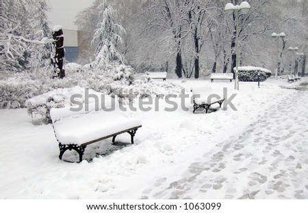 winter park benches and footsteps in snow