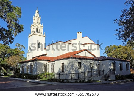 WINTER PARK, FLORIDA/USA - January 13, 2017: The Rollins College campus, in Winter Park, Florida, near Orlando, on January 13, 2017.