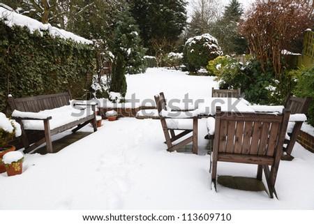 Winter patio and garden - stock photo