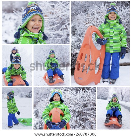 Winter, play, fun - Collage of images cute little boy having fun with sled in winter park - stock photo