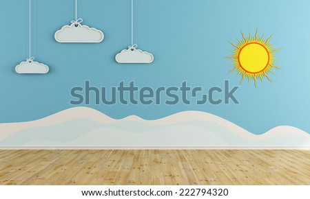 winter playroom with decoration on wall - 3D rendering - stock photo