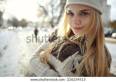 on teen Cute bed blonde