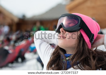 Winter Portrait of beautiful girl Portrait of happy cute girl, enjoying wintertime nature, active lifestyle