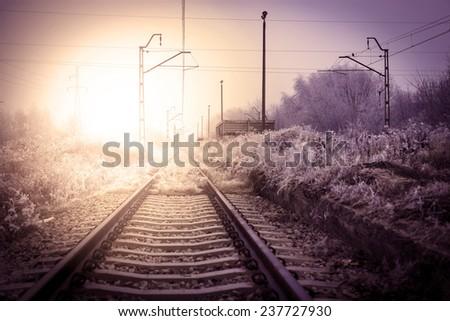 Winter railroad landscape - stock photo