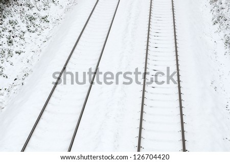 winter railroad track - stock photo