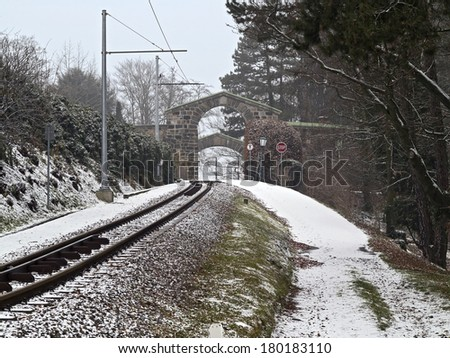 Winter railway track of mountain tramway in Linz  - stock photo