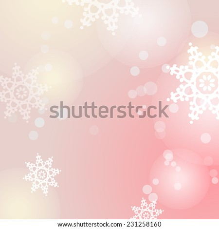 Winter raster pink background with snowflakes and bokeh lights - stock photo