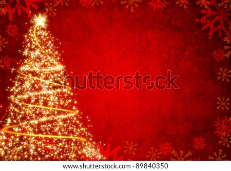 Winter red christmas tree background