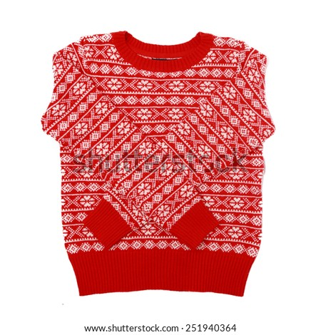 winter red sweater texture isolated - stock photo