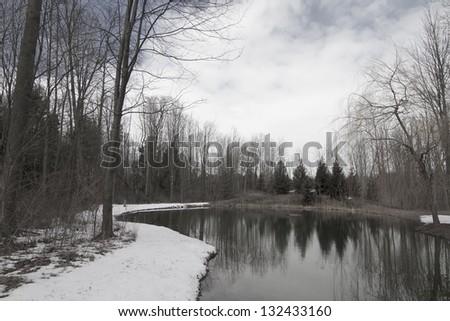 Winter reflection - stock photo