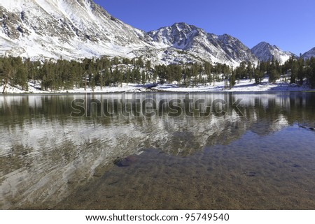 Winter reflections in an alpine lake in California mountains