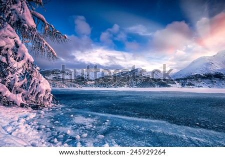 winter river in snowfall - stock photo
