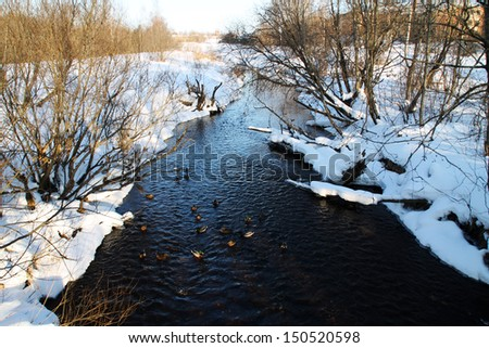Winter river with dark water. snow bank. duck - stock photo