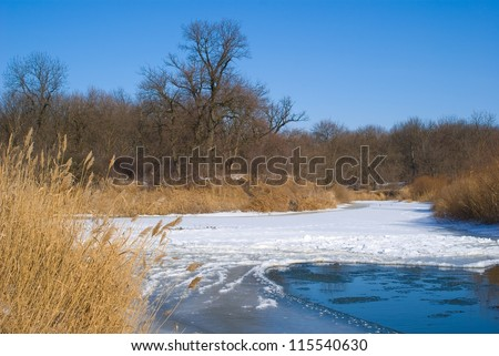 winter river with floes