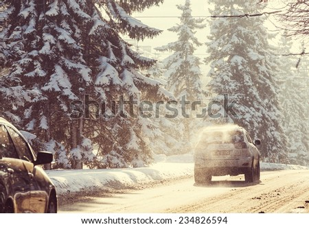 Winter road in city - stock photo