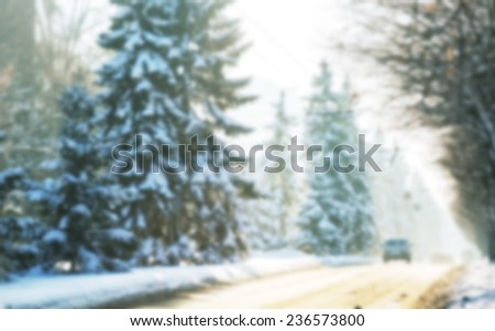 Winter road in city, Blur - stock photo