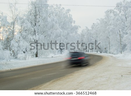winter road snow landscape white driving car blue