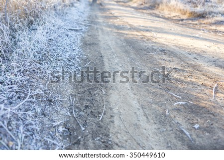winter road, winter background, copy space