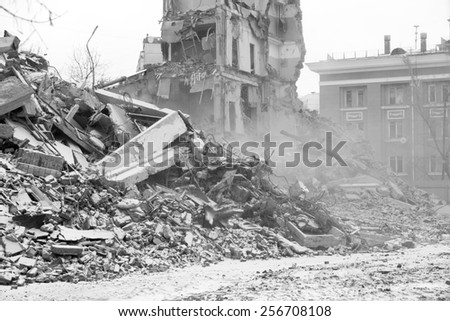 Winter ruins - stock photo