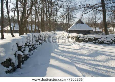 Winter rural landscape - stock photo