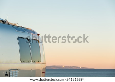 Winter RV camping on cost of California. - stock photo