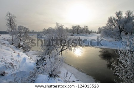winter's day on the river Zai-ice drift
