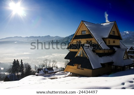 Winter's mountain view - stock photo