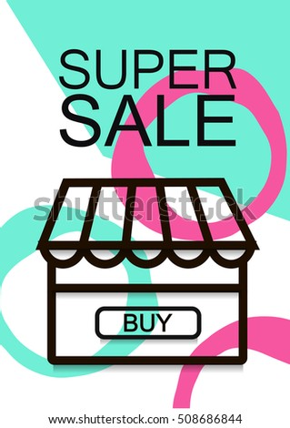Winter Sale Banner, Poster, Flyer A4.Thin line illustration