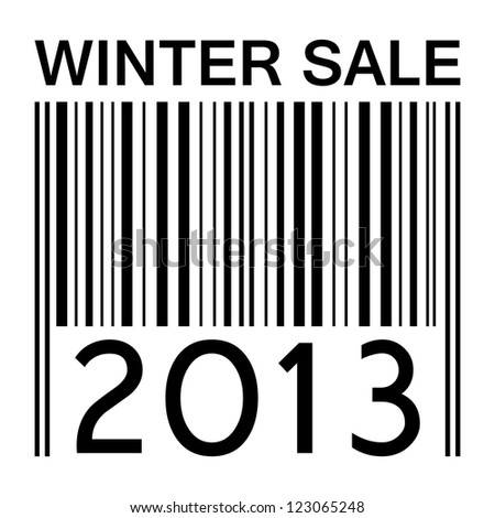 winter sale banner with barcode