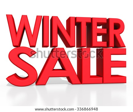 Winter sale 3D text on white background