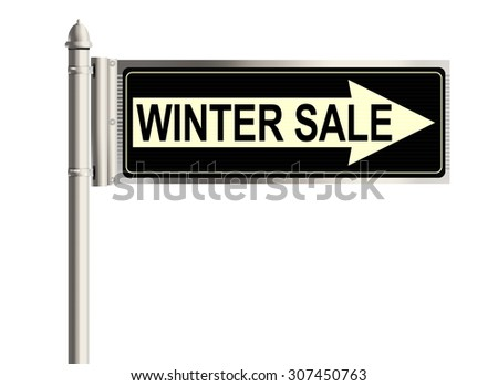 Winter sale. Road sign on the white background. Raster illustration.
